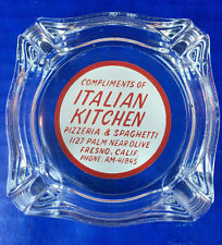 Retro! Italian Kitchen Pizzeria & Spaghetti Restaurant Ashtray 3.5 x 3.5""