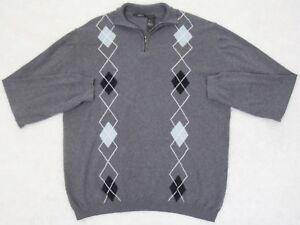Claiborne Half Zip Sweater Mens XL Extra Large Solid Cotton Man Gray White Black