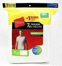 7 Hanes White XL 46-48 Inch V-Neck T-Shirts Tagless ComfortSoft XG 115-120 CM