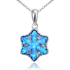 Sterling Silver Created Blue Opal Snowflake Necklace