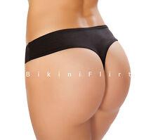 SEXY SKIMPY EXTRA CHEEKY BLACK BRAZILIAN THONG BIKINI BOTTOMS! NEW! MADE IN USA!