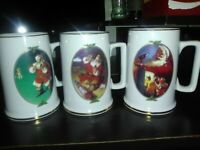 Vintage Coca Cola Santa Mugs 1996 Collector's Edition Set of 3