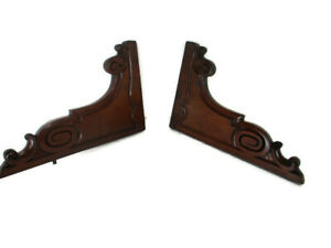Pair French Corbels Hand Carved Wood Pediment  Finial Architectural Brackets