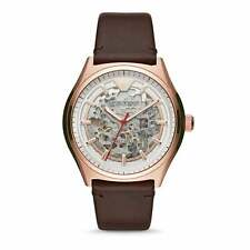 AR60005 Men's Rose Gold Skeleton Automatic Watch with a Brown Leather Strap