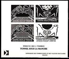 FRANCE GRAVURES DU TIMBRE N° 2880 / 2883  SERIE  TUNNEL SOUS LA MANCHE
