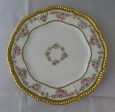 """Limoges Bawo &  Dotter Elite Works 9 1/2"""" Floral Plate Gold Gadroon Beaded Edge"""