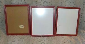 """Lot of 3 red plastic frames, 8"""" x 10"""" non-glare glass, flex tabs, foam core back"""