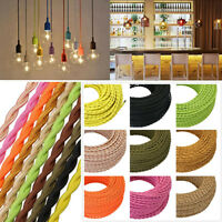 5/10/20M Braided Electric Cable Chandelier Pendant Lamp 2-Core Copper Wire DIY