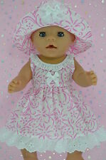 "Play n Wear Doll Clothes To Fit 17"" Baby Born  WHITE/CANDY PINK FLOWER DRESS~HAT"