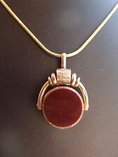 FAB EDWARDIAN 1912 9ct ROSE GOLD 2 SIDED SPINNER BLOODSTONE FOB SEAL CARNELIAN