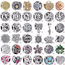 925 European sterling  CZ silver charms pendant bead For bracelet chain bangle