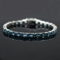 925 Sterling Silver Oval 6x4mm Natural Swiss Blue Topaz Gemstone Tennis Bracelet