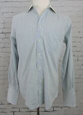 Men's Burberry Of London Blue White Striped French Cuff Shirt 15-32/33