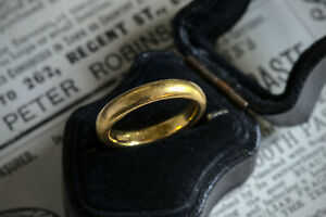 INCREDIBLE THICK ANTIQUE ENGLISH ART DECO 22K GOLD WEDDING BAND RING c1931
