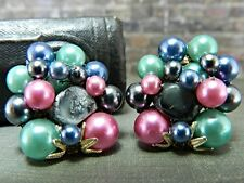 Vintage Japan Gold Tone Faux Multicolored Pearl Clip On Earrings