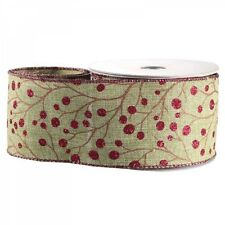 Luxury Christmas Red Glitter Berries Fabric Wired Hessian Ribbon - 1m length