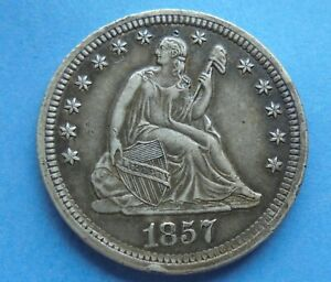 United States, 1857 Liberty Quarter Dollar, damage, as shown.