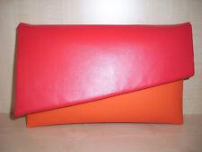 A lo largo de tamaño naranja y rojo imitación cuero bolso de embrague asimétrico, Totalmente Forrado!