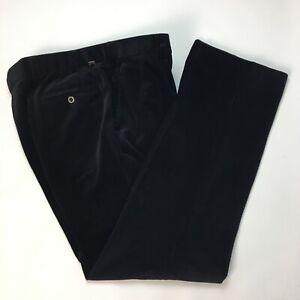 Meyer Men Black Stretch Cords W36 L32 Smart Corduroy Trousers Taped Hems Pockets