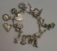 Old Vintage 925 Silver 14 Charm Bracelet with ASJ Sterling locket & safety chain