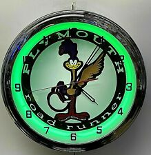 """16"""" Plymouth Road Runner Sign Green Neon Clock Mopar Roadrunner"""
