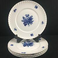 Set of 4 VTG Dinner Plates Royal Tettau Copenhagen Rose Blue and White Germany