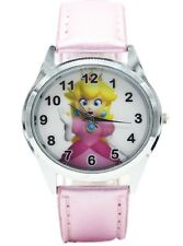 Super Mario PRINCESS PEACH Pink Leather Band WRIST WATCH