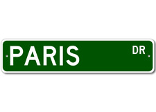 PARIS Street Sign - Personalized Last Name Sign