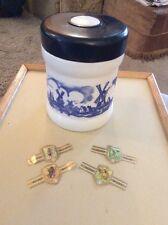 VINTAGE NV WILLEM 11 WHITE GLASS CIGAR HOLDER WITH PLASTIC LID & CIGAR WRAPPERS
