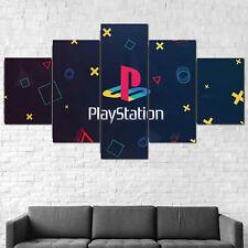 Playstation Console Logo Gaming Canvas Framed Print 5 Pcs Wall Art Poster Decor