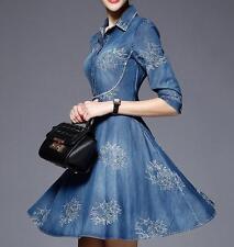 Retro Women's Embroidered Flower Floral Blue Denim Dress Loose Denim Skirt Dress
