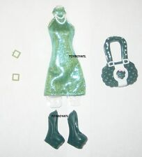 Monster High Toys R Us Scarah Screams Outfit ONLY Green Dress Shoes Bag NEW TRU