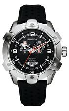 Nautica Men's NST100 Large Chronograph Watch A32516G Black Leather Strap  BNWT
