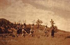 Vintage EDWARD CURTIS American Indian Apache Ritual GOLDTONE Photo Art 12x16
