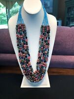 """Vintage Bohemian Beaded multi Strand Pink Green Turquoise Beaded Necklace 28"""""""