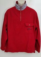 Eddie Bauer Mens Jacket Small Red 1/2 Zip Long Sleeve 100% Cotton Pullover