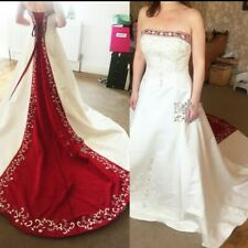 Alfred Angelo White/Claret Wedding Dress Size 18