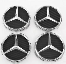 4 X 75 mm Carbon Schwarz Mercedes Benz Nabendeckel Radnaben Nabenkappen Radkappe