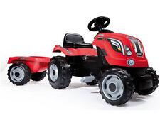 Trattore a pedali giocattolo per bambini con rimorchio clacson rosso 3-5 anni