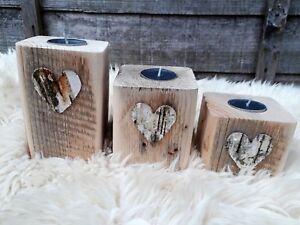 Huge Recycled Wood Tea Light Candle Holders Wedding Christmas Lights Heart Love