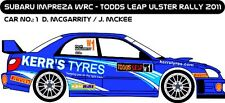 DECALS 1/43 SUBARU IMPREZA WRC - #1 - McGARRITY - RALLYE ULSTER 2011 - D43170
