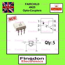 5 Qty Fairchild 4N25 Optoisolator (Optocoupler, Isolator) DIP/DIL6 IC UK Seller.