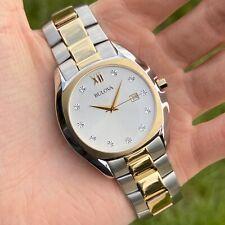Bulova Men's Diamond Accent Watch | Silver Dial Two Tone Steel | Date 98D125