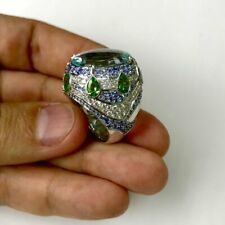 22TCW Aquamarine Tsavorite Gemstone Sapphire 925 Real Silver Oriental Suite Ring
