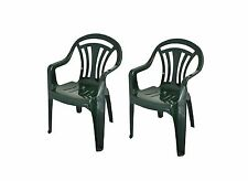2 x Pvc Plastic Garden Chair Low Back Green Lawn Furniture Out Door Summer New