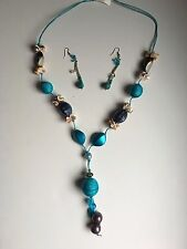 and Earrings Set in Blue Costume Fashion Jewelry Handcrafted Beaded Necklace