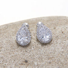 Classic Women Mini Teardrop Cubic Zirconia CZ Stud Wedding Earrings Birthday