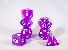 Translucent Purple Aurora Poly Dice Set Purple Violet (7) White Numbers New RPG