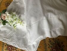 More details for vintage pair pillowcases hand embroidered white work & scalloped edge