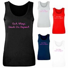 Ladies Eat Sleep Crack On Repeat Love Island Vest Athletic Gym Womens Tank Top